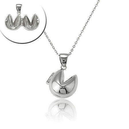 Fortune Cookie Locket Necklace in Sterling Silver