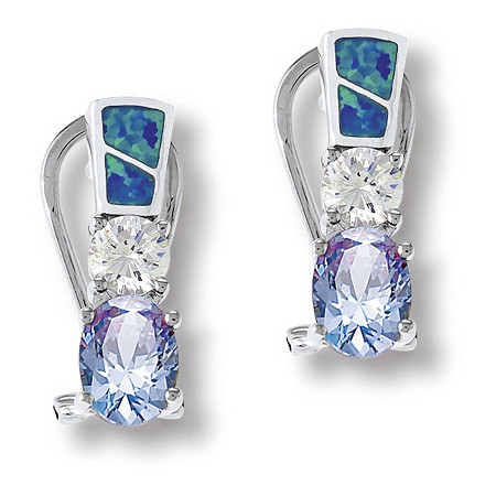 3.12 TCW Tanzantie CZ, Clear CZ and Blue Opal Earrings in Sterling Silver