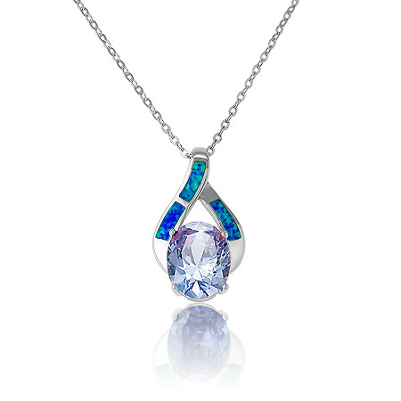 2.54 Tanzanite Cubic Zirconia and Blue Opal Pendant Necklace in Sterling Silver