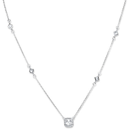 1.22 TCW Square Cubic Zirconia Station Necklace in Sterling Silver