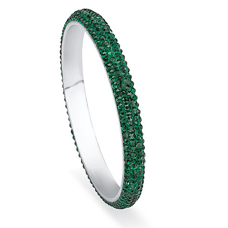 Green Pave Crystal Bangle Bracelet in Silvertone
