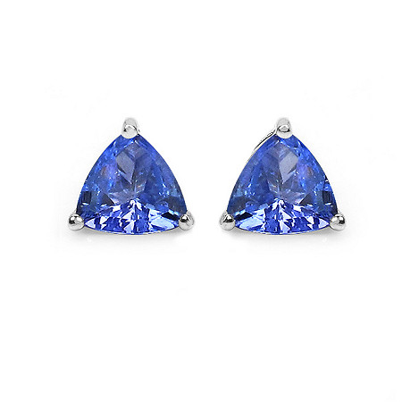 1 TCW Tanzanite Stud Earrings In Platinum over Sterling Silver