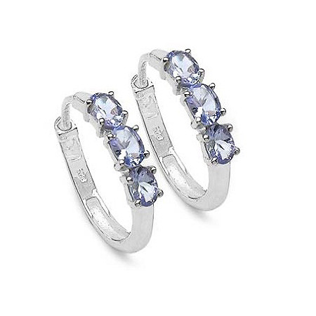 .72 TCW Oval Tanzanite Hoop Earrings in Platinum over Sterling Silver.