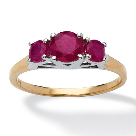 .95 TCW Round Ruby Ring in Two-Tone 14k Gold over Sterling Silver
