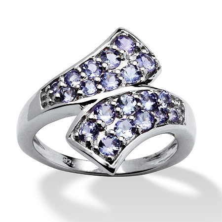 1.02 TCW Round Tanzanite Bypass Ring in Platinum over Sterling Silver