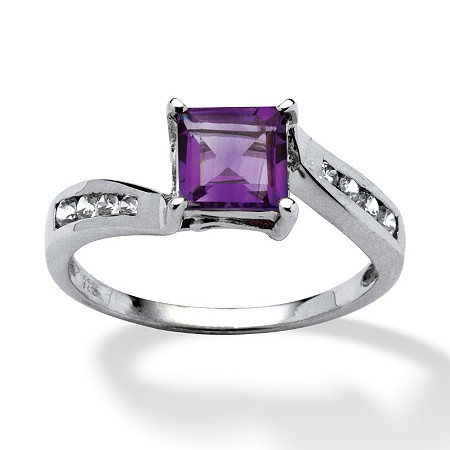 1.19 TCW Princess-Cut Amethyst and Cubic Zirconia Accented Ring in Platinum over Sterling Silver