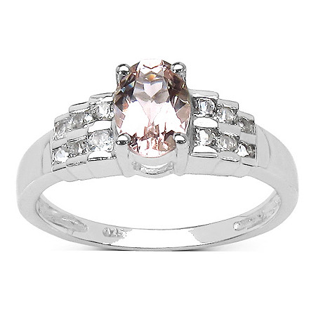 1.22 TCW Oval Morganite and Round White Topaz Ring in Platinum over Sterling Silver