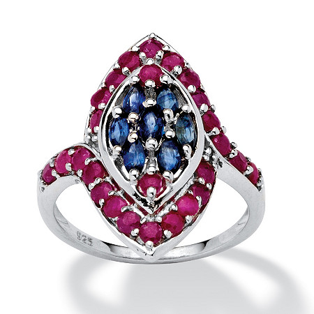 2.21 TCW Marquise-Cut Sapphire and Round Ruby Ring in Platinum over Sterling Silver