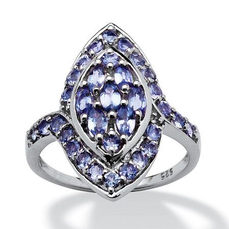 1.48 TCW Marquise-Cut Tanzanite Ring in Platinum over Sterling Silver