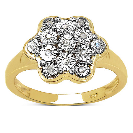 Diamond Accent Pave Flower Ring in 14k Gold over Sterling Silver