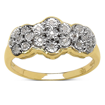 1/10 TCW Diamond Pave Triple Flower Ring in 14k Gold over Sterling Silver