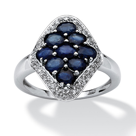 1.90 TCW Oval-Cut Sapphire and Cubic Zirconia Accent Ring in 14k Gold over Sterling Silver
