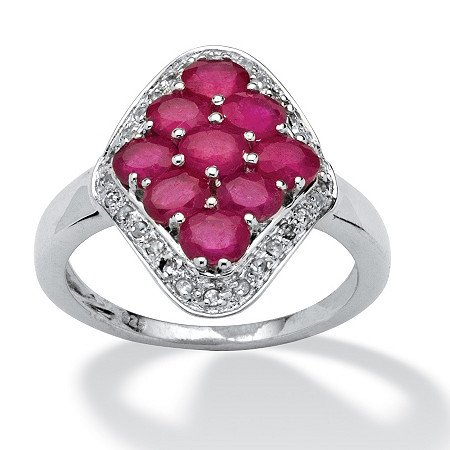 1.90 TCW Oval-Cut Ruby and Cubic Zirconia Accent Ring in 14k Gold over Sterling Silver