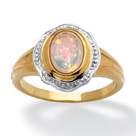 Opal Cabochon Ring in 14k Gold over Sterling Silver