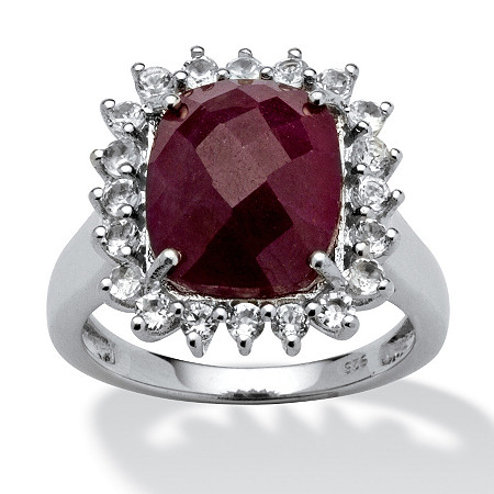 5.80 TCW Cushion-Cut Ruby and White Topaz Accented Ring in Platinum over Sterling Silver