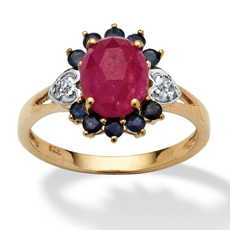 2.72 TCW Pink Sapphire, Blue Sapphire and White Topaz Accented Ring in 14k Gold over Sterling Silver