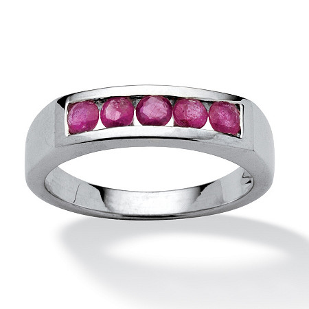 .75 TCW Round Ruby Channel-Set Ring in Platinum over Sterling Silver