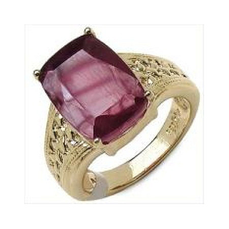 7.20 TCW Emerald-Cut Ruby Ring in 14k Gold over Sterling Silver