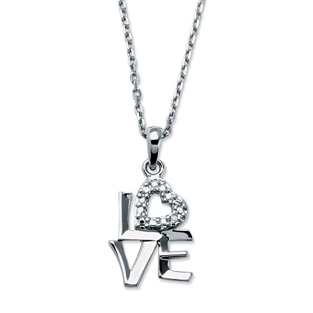 Love Diamond Accented Pendant Necklace in Sterling Silver