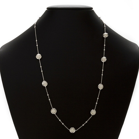 Diamond-Cut Beaded Station Necklace in Sterling Silver