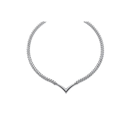 Diamond-Cut Chevron Necklace in Sterling Silver