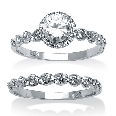 2 Piece 1.26 TCW Round Cubic Zirconia Twist Bridal Ring Set in Platinum over Sterling Silver