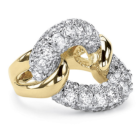 2.95 TCW Cubic Zirconia Link Ring in 14k Gold-Plated