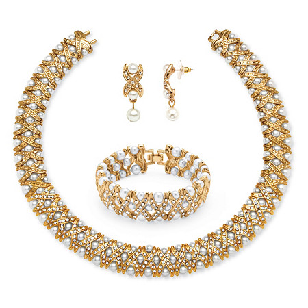 3 Piece Simulated Pearl and Crystal Jewelry Set in Yellow Gold Tone