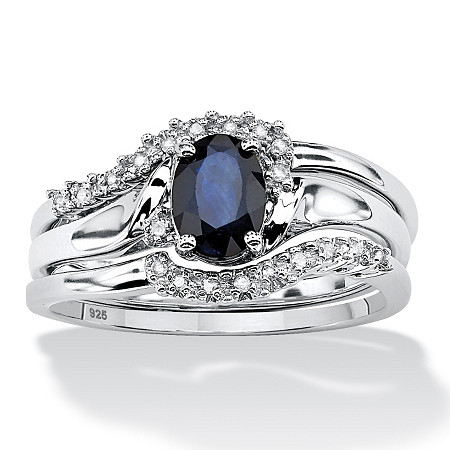 3 Piece 1.05 TCW Oval Sapphire and Diamond Accent Bridal Ring Set in Platinum over Sterling Silver