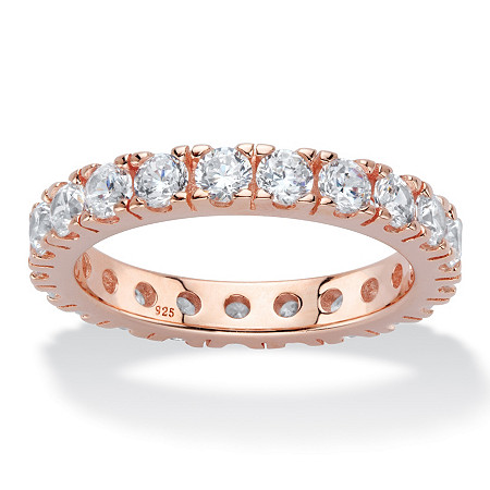 2 TCW Round Cubic Zirconia Eternity Band in Rose Gold over Sterling Silver