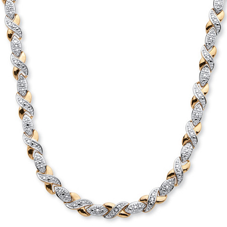 1/5 TCW Diamond X and O Necklace in 18k Gold-Plated