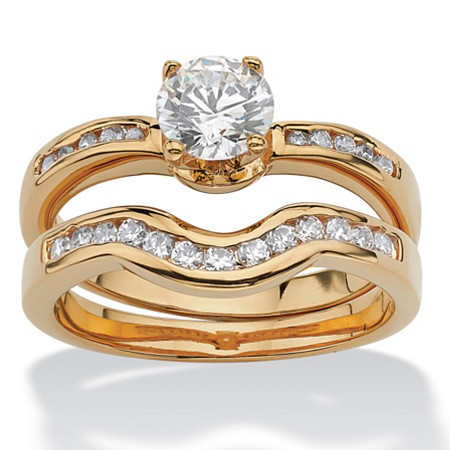 2 Piece 1.29 TCW Round Cubic Zirconia Bridal Ring Set in 18k Gold-Plated