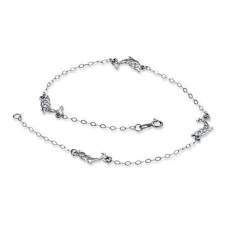 Diamond-Cut Dolphin Ankle Bracelet in 10k White Gold
