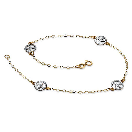 Diamond-Cut Peace Sign Ankle Bracelet in Two-Tone 10k Gold