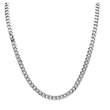 Curb Link Necklace in Sterling Silver 24