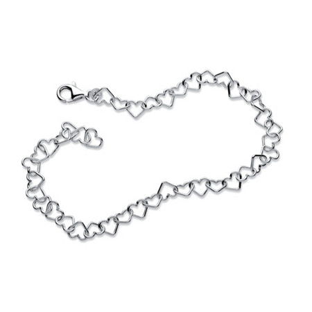Heart Link Ankle Bracelet in Sterling Silver 9 1/2