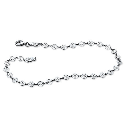 Scroll Link Ankle Bracelet in Sterling Silver 9 1/4