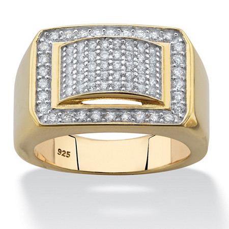1.05 TCW Men's Cubic Zirconia Geometric Ring in 18k Gold over Sterling Silver
