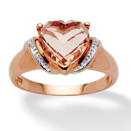 Heart-Cut Simulated Morganite Ring in Rose Gold over Sterling Silver