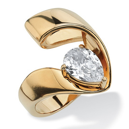 1.80 TCW Pear-Cut Cubic Zirconia Nestled Ring in Gold Ion Plated