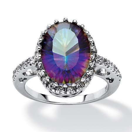5.63 TCW Mystic Purple Quartz and Cubic Zirconia Accented Ring in Platinum over Sterling Silver