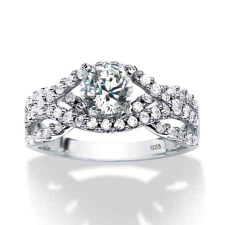 1.74 TCW Round Cubic Zirconia Twisting Double Shank Ring in Platinum over Sterling Silver