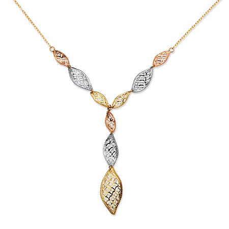 Leaf Y Necklace in Tri-Tone 10k Gold 18