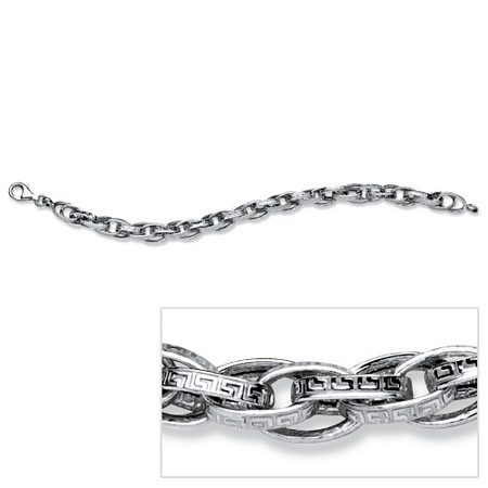 Greek Key Link Bracelet in Sterling Silver 7 1/2
