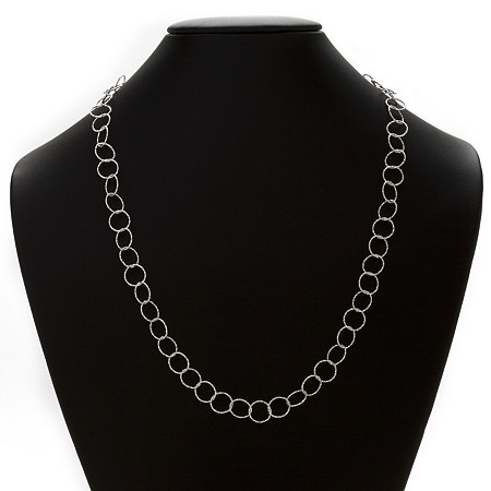 Circle Link Necklace in Sterling Silver 24