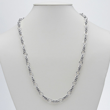 Byzantine and Oval Link Necklace in Sterling Silver 24