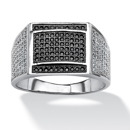 Men's .95 TCW Black and White Micro-Pave Cubic Zirconia Ring in Platinum over Sterling Silver