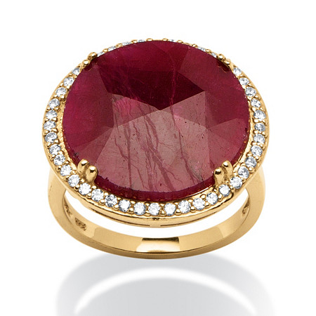 14.53 TCW Round Ruby and Cubic Zirconia Ring in 18k Gold over Sterling Silver