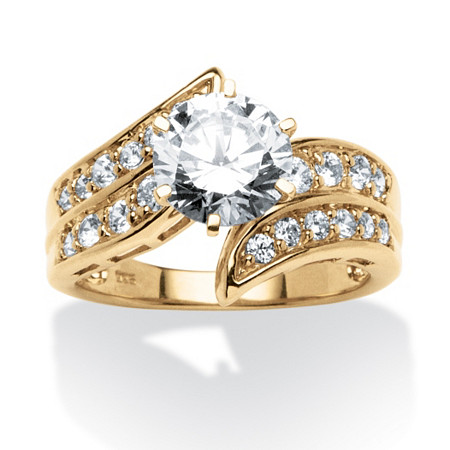2.54 TCW Round Cubic Zirconia Bypass Ring in 18k Gold over Sterling Silver