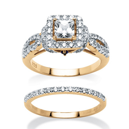 2 Piece 1.28 TCW Princess-Cut Cubic Zirconia Bridal Ring Set in 18k Gold over Sterling Silver
